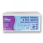 C Fold Hand Towels - White Recycled
